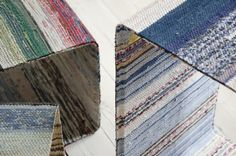 lars hofsjö recycles swedish rag rugs into torp and dunker tables Recycled Rugs, Upcycled Textiles, Recycled Furniture, Recycled Fabric, Sustainable Textiles, Sustainable Design, Sustainable Fashion, Design Furniture, Cool Furniture