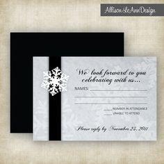 Black + White // RSVP Card for Snowflake Winter Wedding Invitation by Allison LeAnn Design