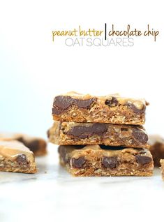 Peanut Butter Chocolate Chip Oat Squares