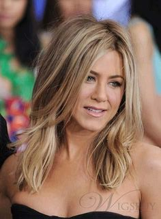 Jennifer Aniston Classical Layered Natural Straight Lace Front Human Hair Wig 16 Inches