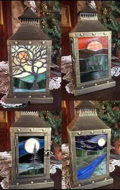 Stained Glass Lanterns – Stained Glass and Glass Art Techniques Stained Glass Light, Stained Glass Designs, Stained Glass Panels, Stained Glass Projects, Stained Glass Patterns, Broken Glass Art, Sea Glass Art, Glass Wall Art, Mosaic Glass