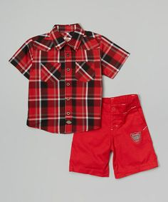 Red Plaid Button-Up & Shorts - Infant & Toddler