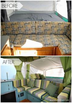 Pop Up Camper Remodel: Todd's Pop Up Makeover.  Such a great tent trailer makeover.  I love the color scheme.