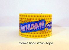 Comic Book Washi Tape Comic Book Words Superhero Party Superhero Favors Japanese Washi Tape on Etsy, $4.00