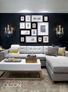 Jane Bi-Sectional in Lato Ash. Decorated by Candice Olson Design -- photo wall! Living Room Modern, My Living Room, Home And Living, Living Room Decor, Living Spaces, Living Room Color Schemes, Paint Colors For Living Room, Room Colors, Family Room Design