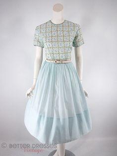 50s/60s Light Blue Embroidered Dress - sm, med