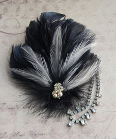 1920s Feather Hair Clip Flapper - Black Pink and Vintage Rhinestones. $35.00, via Etsy.