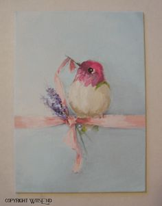 """'GOOD THINGS COME IN SMALL PACKAGES"""", Hummingbird bird painting still life original canvas painting  FREE shipping. by WitsEnd, via Etsy"""