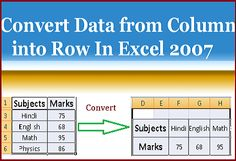 How to Convert Data From Column Into Row In Excel 2007