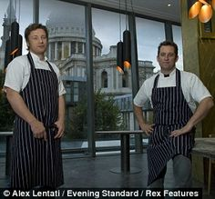 Jamie Oliver and co-proprietor Adam Perry Lang at their new London restaurant, Barbecoa