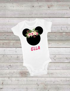 Minnie Mouse Floral Black Onesie®with Custom Personalization- ONESIE® birthday birthday, cute ONESIE® 1st Birthday Party For Girls, Girl Birthday, Minnie Mouse Party Decorations, Onesies, Woodland, Trending Outfits, Bodysuit, Handmade Gifts, Floral
