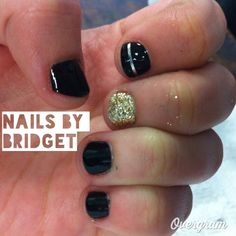Black and gold nails. Simple