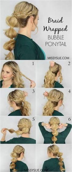 Braid Wrapped Bubble Ponytail The most beautiful hair ideas, the most trend hairstyles on this page. Super Easy Hairstyles, Unique Hairstyles, Ponytail Hairstyles, Pretty Hairstyles, Perfect Hairstyle, Updos, Puff Hairstyle, Wedding Hairstyles, Party Hairstyle