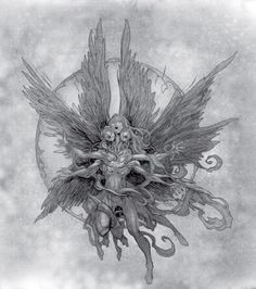 Our angels are different - tv tropes Real Angels, Angels And Demons, Dark Fantasy Art, Dark Art, Manga Gore, Arte Dark Souls, Angel Drawing, Ange Demon, Occult Art