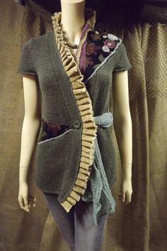 Lagenlook Upcycled Sweater Jacket Boho Romantic Tapestry Floral Applique Ruffled Hand dyed Size S-M  Great textures here.