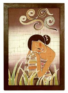 Batik art, 'Daydreams' by NOVICA. $69.99. Handmade by Alaya Cholprasertsuk. Normally ships directly from Thailand within 10 days.. A fair trade product. Arrives framed. NOVICA, in association with National Geographic, searches the world to work directly with the finest artisan designers. Sitting in a meadow of lush green, tall grass, a young girl daydreams as she rests her head over her knee. Alaya Cholprasertsuk paints her portrait with expressive artistry as she mas...