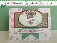 Art Philosophy cartridge and the Nov SOTM. Yuletide Greetings Stamp set makes lamp look festive.  Used heat embossing, stamping, and paper piecing. I also used a bit of bling.