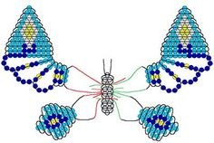 Beaded Butterfly Pattern - Bead jewelry makingBead jewelry making - Page 4 of 6 - Learn how to make bead projectsHere you are a pattern of a beautiful beaded butterfly.very similar patter to what I currently use. maybe I will use this wing patter for Seed Bead Patterns, Beading Patterns, Bracelet Patterns, Stitch Patterns, Jewelry Making Beads, Beaded Jewelry, Beads Making, Beaded Spiders, Beaded Animals