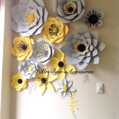 * Australia based customers - PLEASE check with us postage costs prior purchasing as it is vary from state to state!    Paper flower wall in GREY and LEMON    Set of 6 giant (40-55 cm), 3 large (30-45 cm) and 3 mediun (15-25 cm) flowers  This set makes a great decoration for any occasion - wedding, Birthday party, Christening, corporate function or as a photo backdrop.       Do you wish it made in different colours? Send us a custom order request!    Each petal of our flowers is cut by hand…
