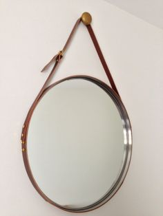 Leather Strapped Mirror Adnet Jamie Young Style by betty9231