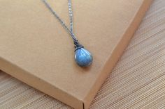 Labradorite Necklace, Blue Fire, Smooth Labradorite Pendant, Blue Stone,Wire Wrapped Oxidized Sterling Silver,Fashion, Rustic, Handmade