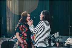 MUA Portia Channell changing my lip colour during the shoot Photo by Remco Merbis Lip Colour, Color, Blog Images, Magpie, News Blog, Photoshoot, Running, Dresses, Fashion