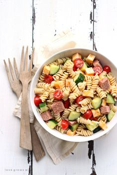 The perfect pasta salad recipe! Tender noodles tossed in a zesty Italian dressing with vegetables, meat, and cheese... great for a potluck or a light meal!