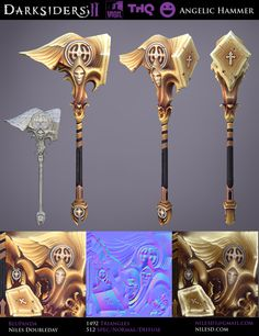Angelic Hammer – Darksiders II Sci Fi Weapons, Medieval Weapons, Fantasy Weapons, Prop Design, Game Design, Digital Sculpting, Harry Potter Drawings, Hand Painted Textures, Weapon Of Mass Destruction