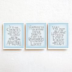 Harry Potter quote print set of 3 - Albus Dumbledore quote inspirational art poster, kids wall art, nursery decor, dorm decor, teen boy gift
