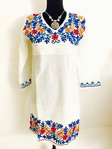 Women 100 Cotton Kurti Kurta Tunic Dress Top Hand Embroidered White Size M   eBay