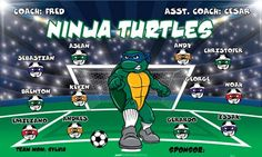 Ninja-Turtles-42255 digitally printed vinyl soccer sports team banner. Made in the USA and shipped fast by BannersUSA. www.bannersusa.com