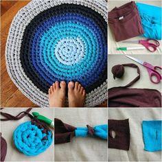 ¿Cómo Crochet viejas camisetas en alfombras de trapo - http://blogmujer.org/como-crochet-viejas-camisetas-en-alfombras-de-trapo/