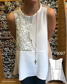 Шить внешний вид: моде узоры V9067 топ модель швейной как видно на Тессути блоге тканей. by Ирина Тюрина
