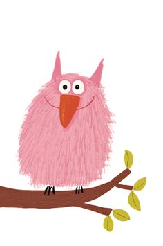 Pink hairy monster bird by Delphine Durand