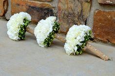 White Wedding Bouquets In Burlap