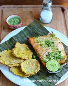 Salmon with cilantro and Garlic Oil