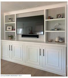 Built In Tv Wall Unit, Built In Shelves Living Room, Living Room Wall Units, Home Living Room, Living Room Designs, Living Room Decor, Tv Wall With Shelves, Built In Tv Cabinet, Tv Built In