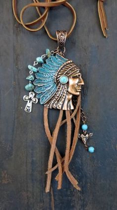 COWGIRL Bling Custom Necklace Leather Fringe BOHO GYPSY COPPER INDIAN Charms #HANDMADE