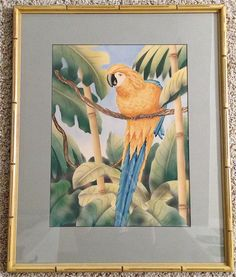 Shirrell Graves yellow Macaw art deco watercolor & airbrush