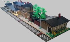 steve5010 built a large model of the Waldenburg rail station. While the buildings are relatively straight forward, I particularly love the pattern of the cobb