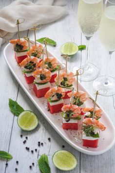 Watermelon, Prawn and Feta Tapas   fancy wedding canapes   easy cocktail party recipes