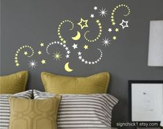 Set of 50+ shooting stars, stars & moon wall decals made from high quality self-adhesive matte finish vinyl - will not harm surface...sizes vary: from 3 inches to 6 inches.    Just choose colors - limit 3 please...type color choices on 'note from buyer' section on payment page.