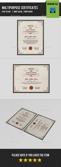 Multipurpose Certificates  Certificate Templates Certificate