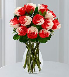 You Are Loved Rainbow Rose Bouquet - 12 Stems - VASE INCLUDED