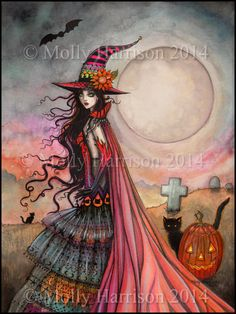 ACEO Open Edition Print - The Fanciful Witch - Fantasy Artwork by Molly Harrison - Witch, Halloween, Wiccan, Black Cat, Illustration Original Art, Original Paintings, Cross Stitch Art, Cross Stitching, Stitching Patterns, Earth Design, Fantasy Kunst, Witch Art, Halloween Art