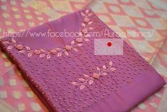 Bullion knot rose embroidery for kurti - Simple Craft Ideas Embroidery On Kurtis, Kurti Embroidery Design, Hand Embroidery Videos, Embroidery Neck Designs, Hand Embroidery Dress, Embroidery Hoop Crafts, Embroidery On Clothes, Embroidery Works, Simple Embroidery