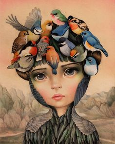 From Haven Gallery, Raúl Guerra, The Dreamer (Pajaros en la Cabeza) Colored pencils and watercolors on 250 grms illustration paper, 10 × 8 in Art And Illustration, Illustrations, Fantasy Kunst, Fantasy Art, Pencil Drawings, Art Drawings, Art Lessons For Kids, Kids Art Class, Pop Surrealism