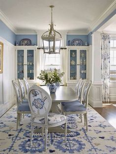 Blue and white dining room.