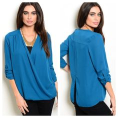 "**Blue twist blouse (S M L) Blue twist blouse S: L 28""• M: L 28"" • L: L 29"" (will add bust measurement ASAP)  Materials- 100% polyester  NWOT. Brand new without tags. This is a very lightweight and soft top. The front has a twisted bottom and the back is cut to about mid torso. The front is open. The sleeves are cuffed and are sewn that way.  Availability- S•M•L • 2•2•2 PLEASE do not purchase this listing. Price is firm unless bundled. No trades Boutique Tops Blouses"