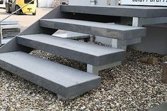Step Staircase natural stone granite dark flamed / by Staircase Outdoor, Deck Stairs, Stair Railing, Porch Steps, Front Steps, Deck Flooring, Escalier Design, Outdoor Steps, Steel Stairs